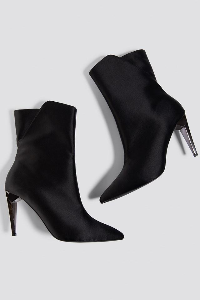 Metallic Heel Satin Boots NA-KD Shoes