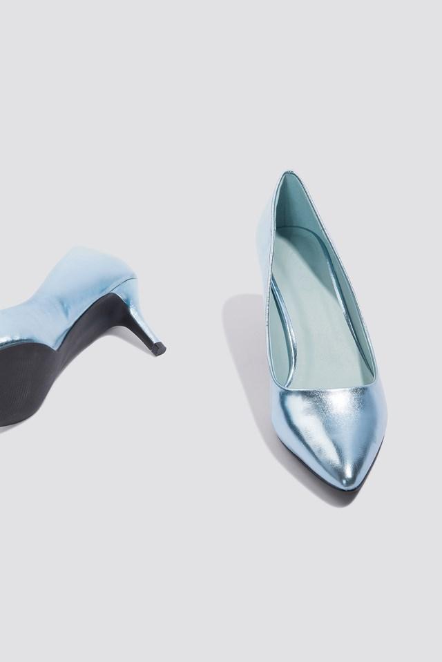 Metallic Mid Heel Pumps Ice Blue