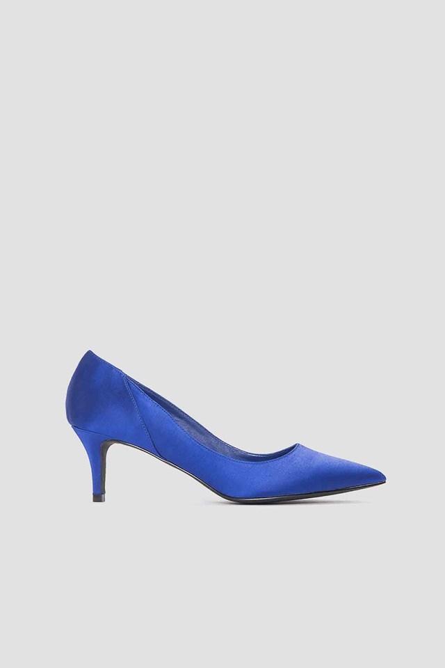 Mid Heel Satin Pumps Cobalt