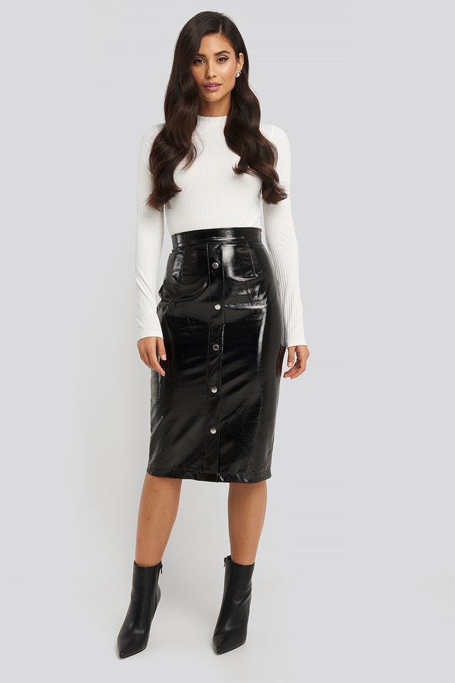 Mid Length Button Up Pu Skirt Black