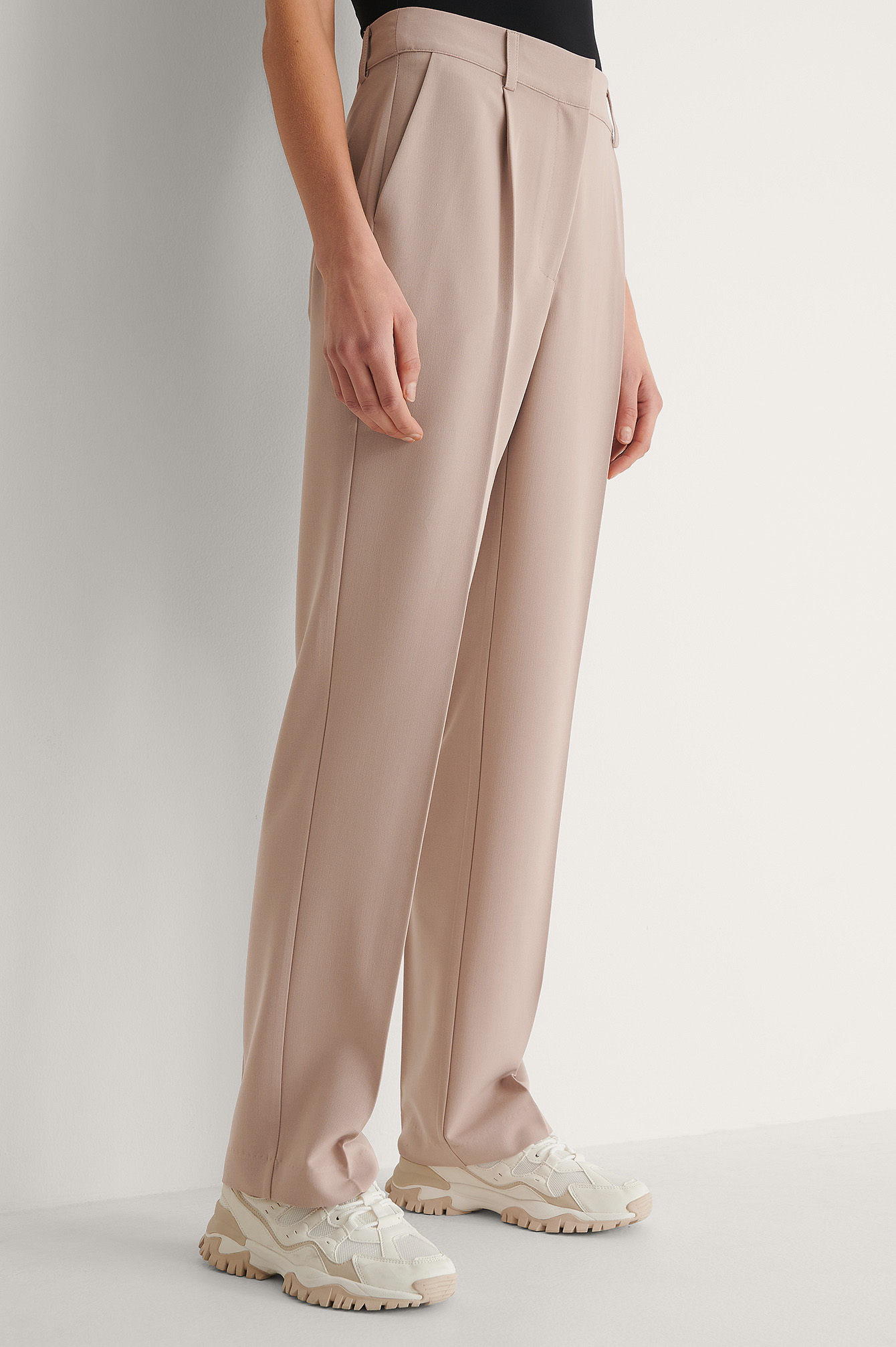 Pink Mid Rise Suit Pants
