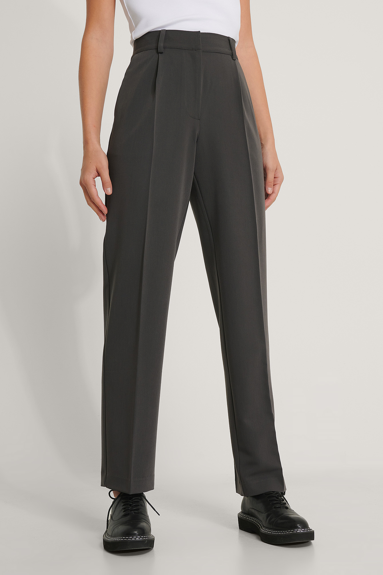 Dark Grey Mid Rise Suit Pants