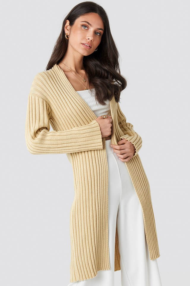 Midi Knitted Cardigan Beige