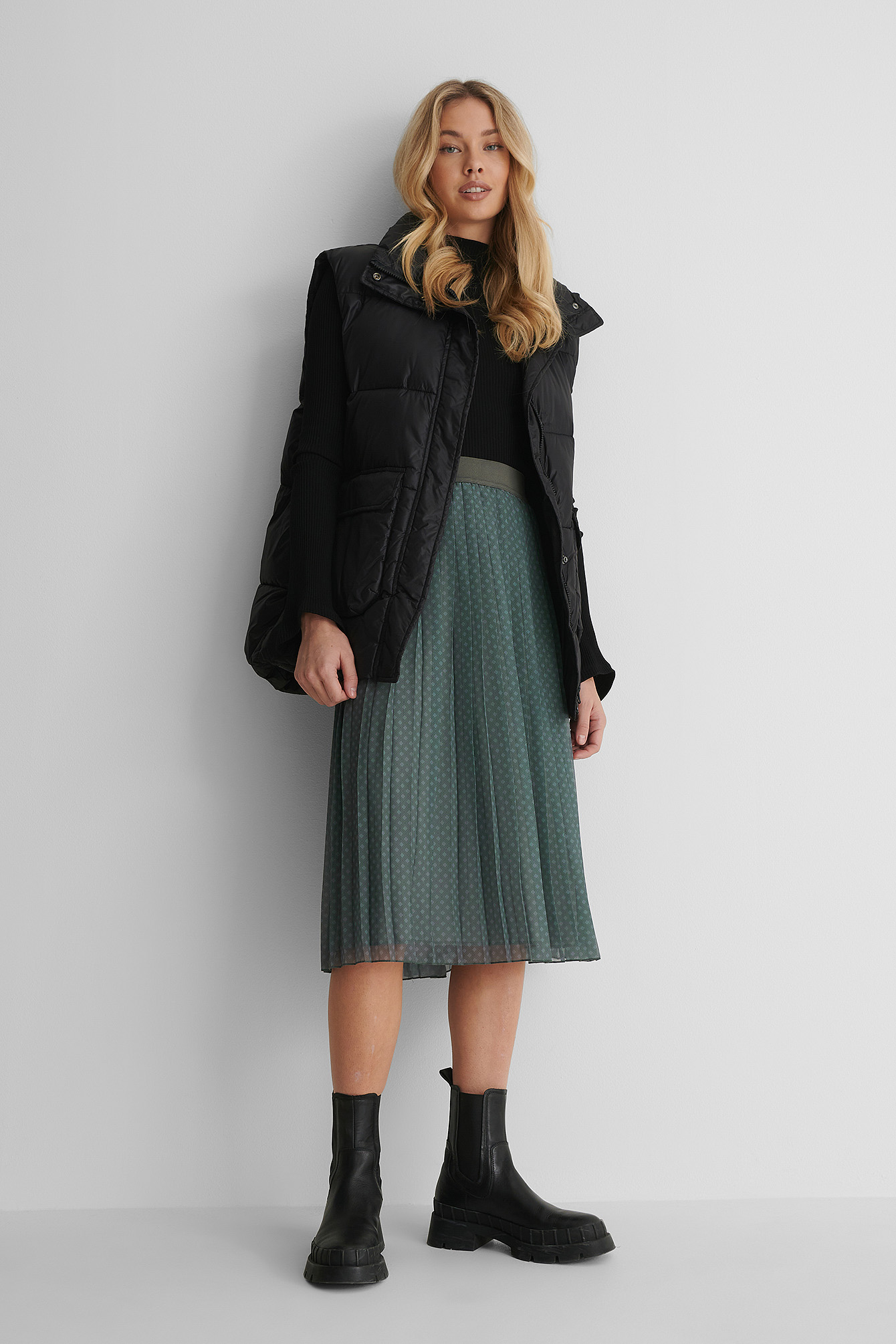 Green Check Midi Pleated Skirt