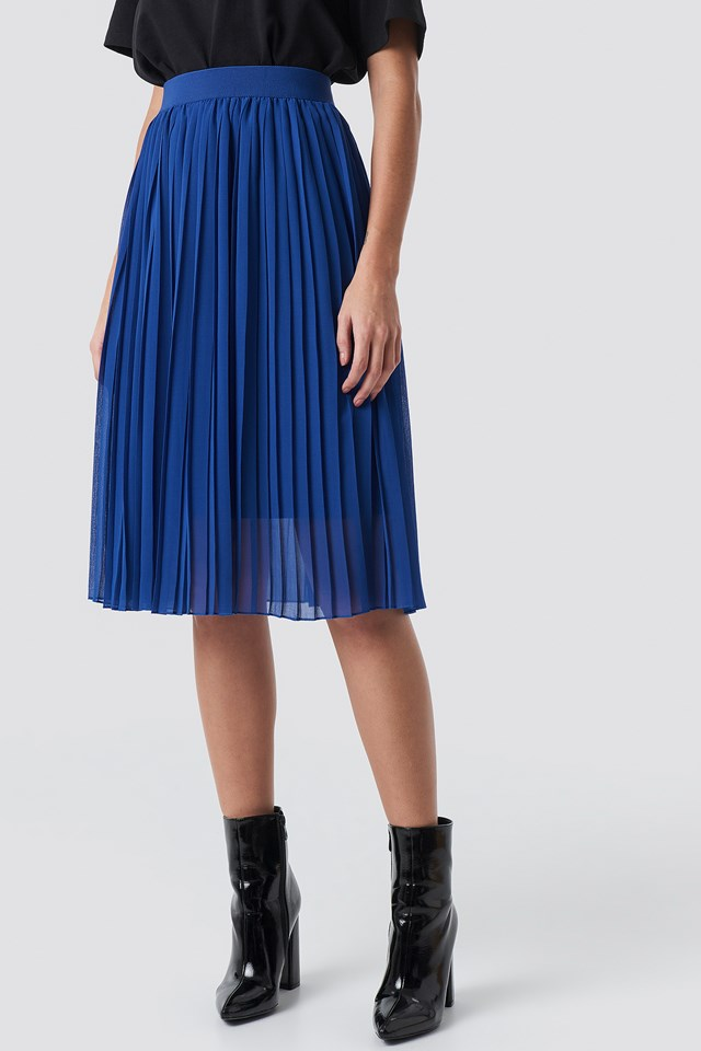 Midi Pleated Skirt Blue