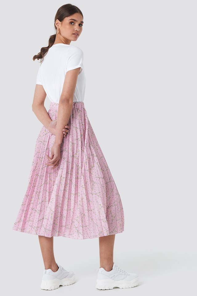 Midi Pleated Skirt Pink Flower