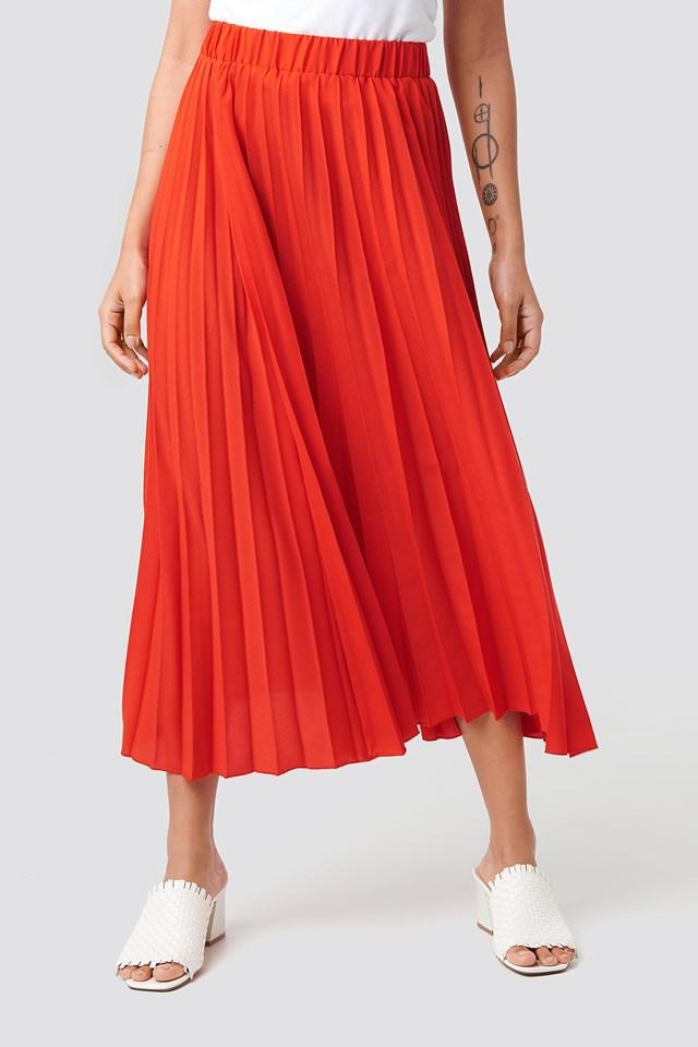 Midi Pleated Skirt Red