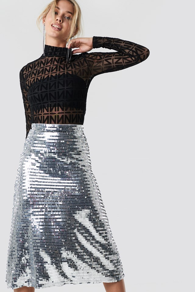 Midi Sequins Skirt Silver