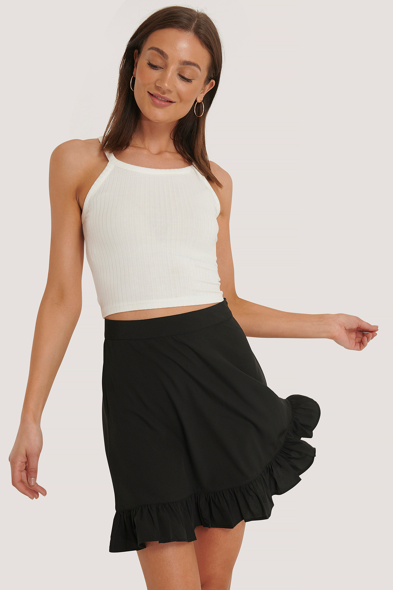 Black Mini Flounce Skirt