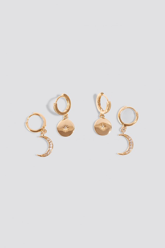 Mini Moon And Star Pendant Earrings NA-KD Accessories