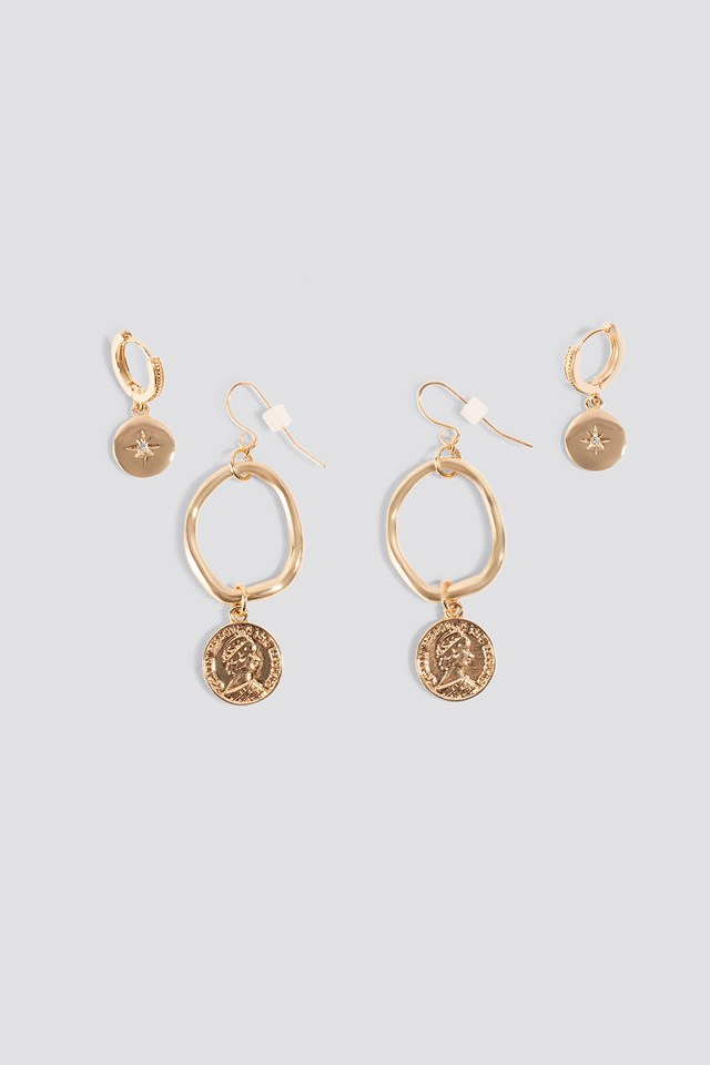 Mini Pendant Coin Earrings (2-pack) NA-KD Accessories