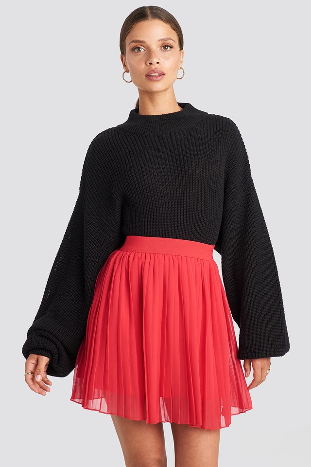 Mini Pleated Skirt Red