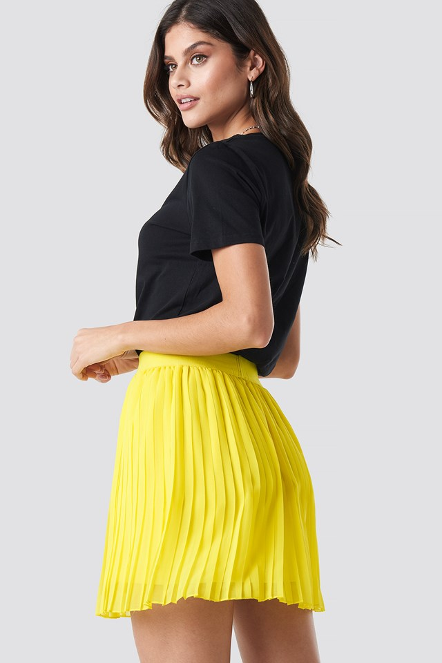 Mini Pleated Skirt Yellow