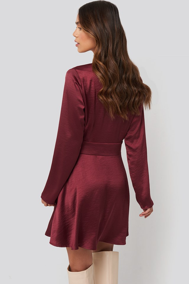 Mini Satin Dress Burgundy