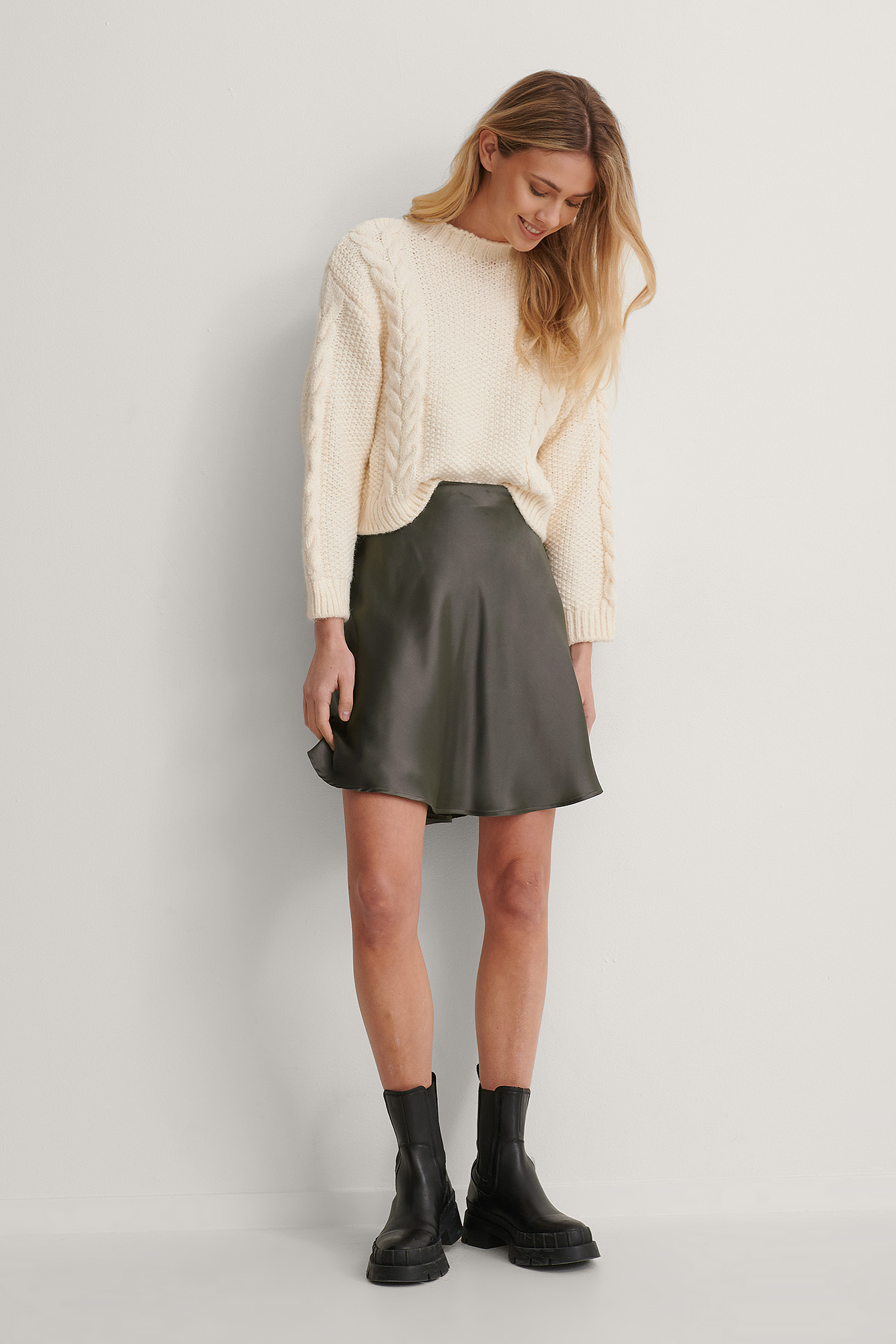 Ash grey Mini Satin Skirt