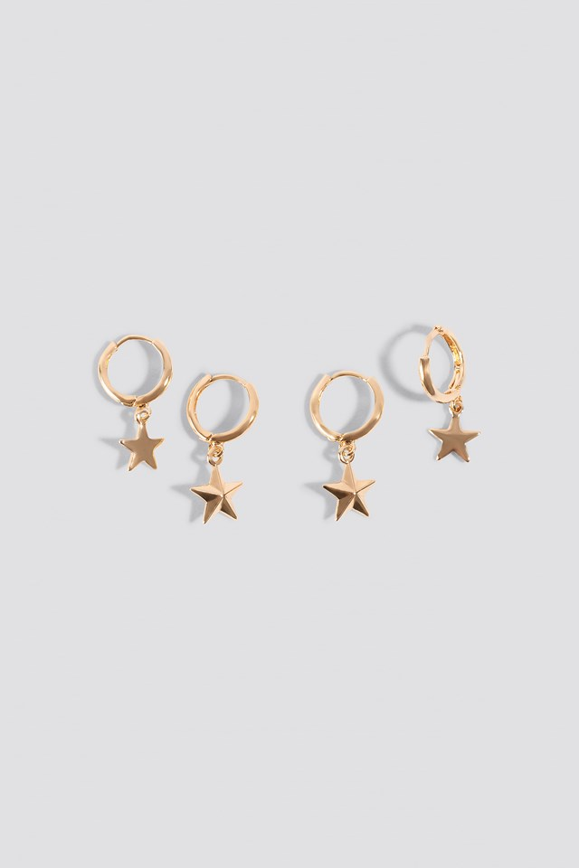 Mini Star Pendant Earrings (2-pack) NA-KD Accessories