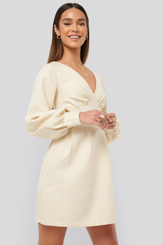 Dogtooth Minidress Light Beige