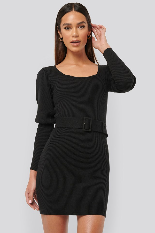 Puff Sleeve Knitted Dress Black