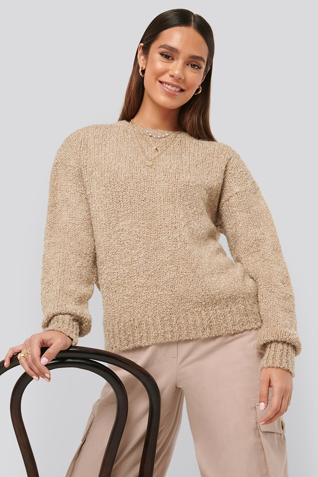 Structured Knitted Sweater Light Beige