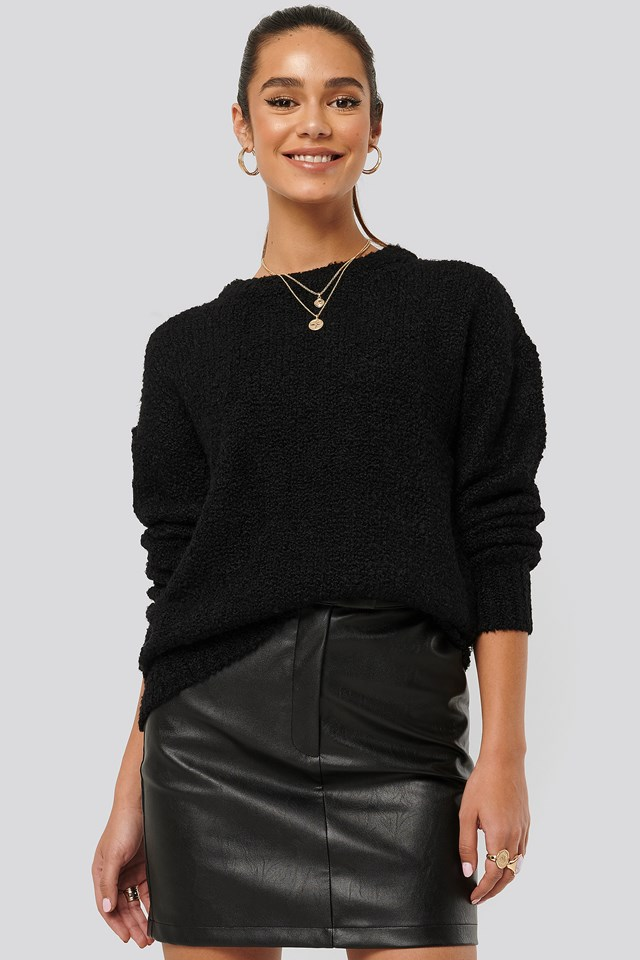 Structured Knitted Sweater Black