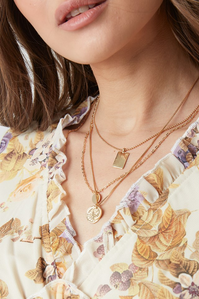 Mixed Pendant Necklace Gold