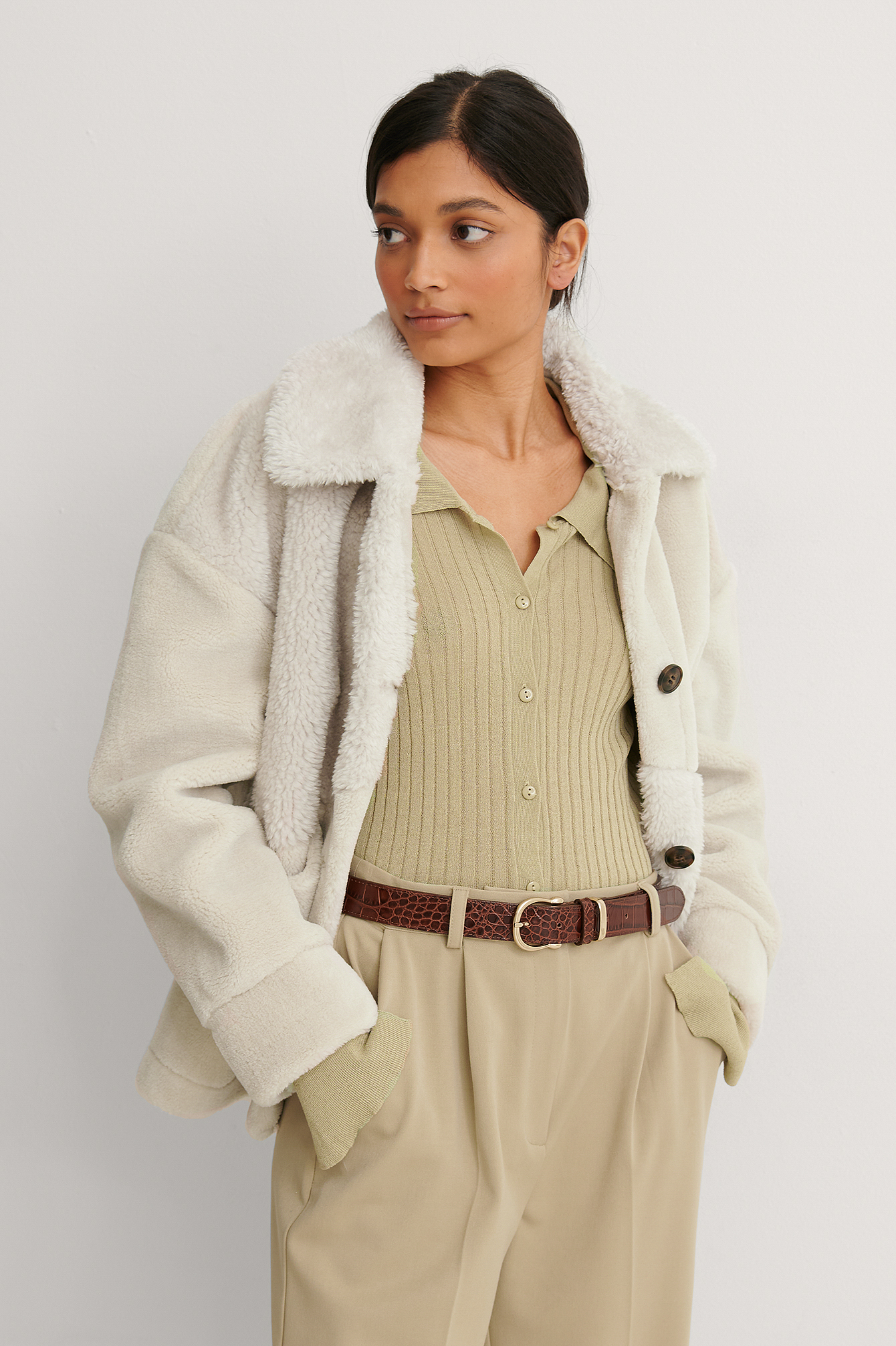 Beige Mixed Teddy Quality Jacket