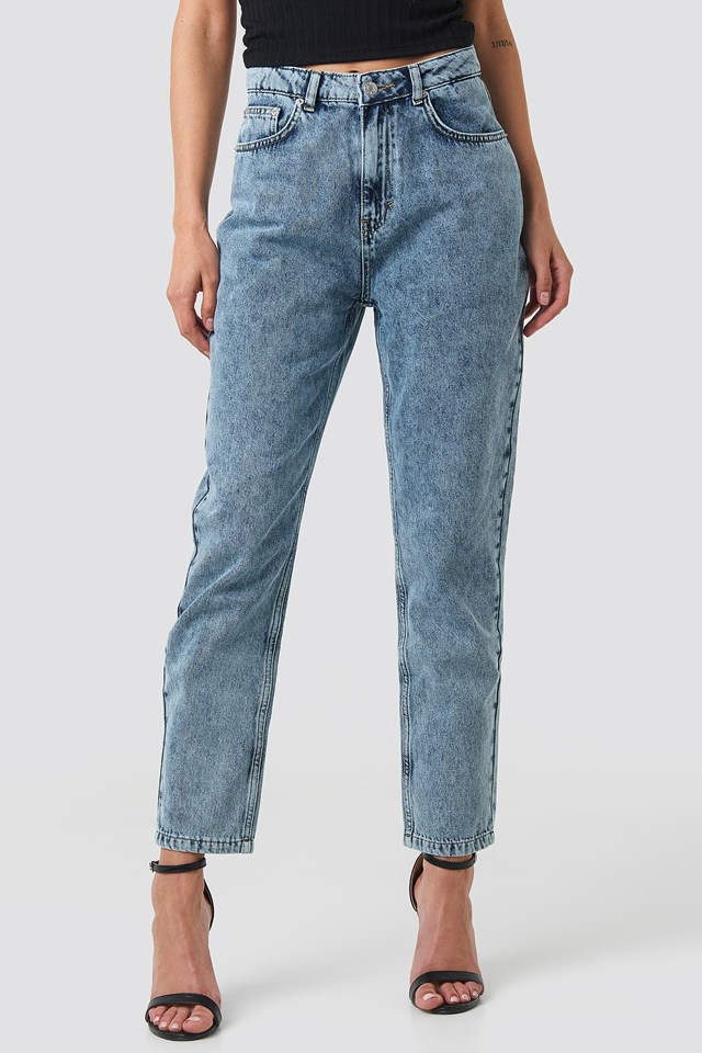 Mom Jeans Stone Wash