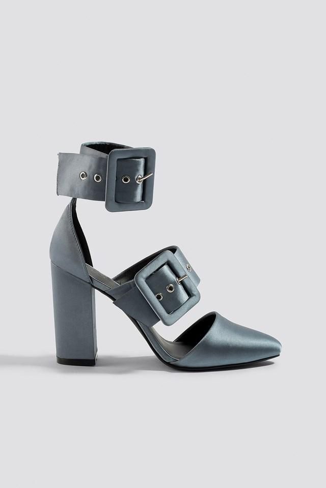 Multi Buckle Block Heels Dark Grey