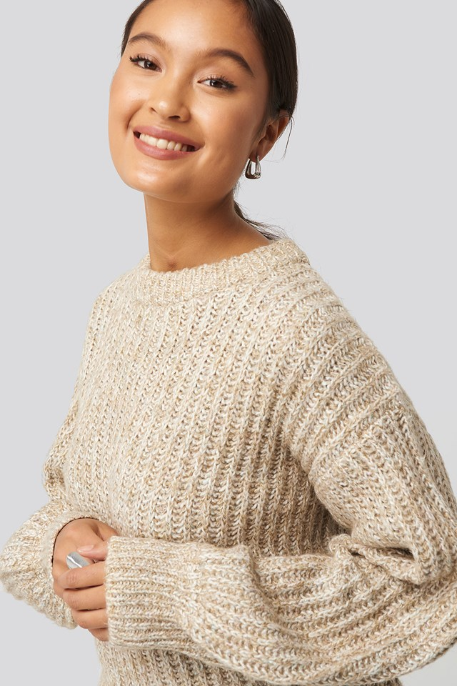 Multi Color Balloon Sleeve Knitted Sweater Beige