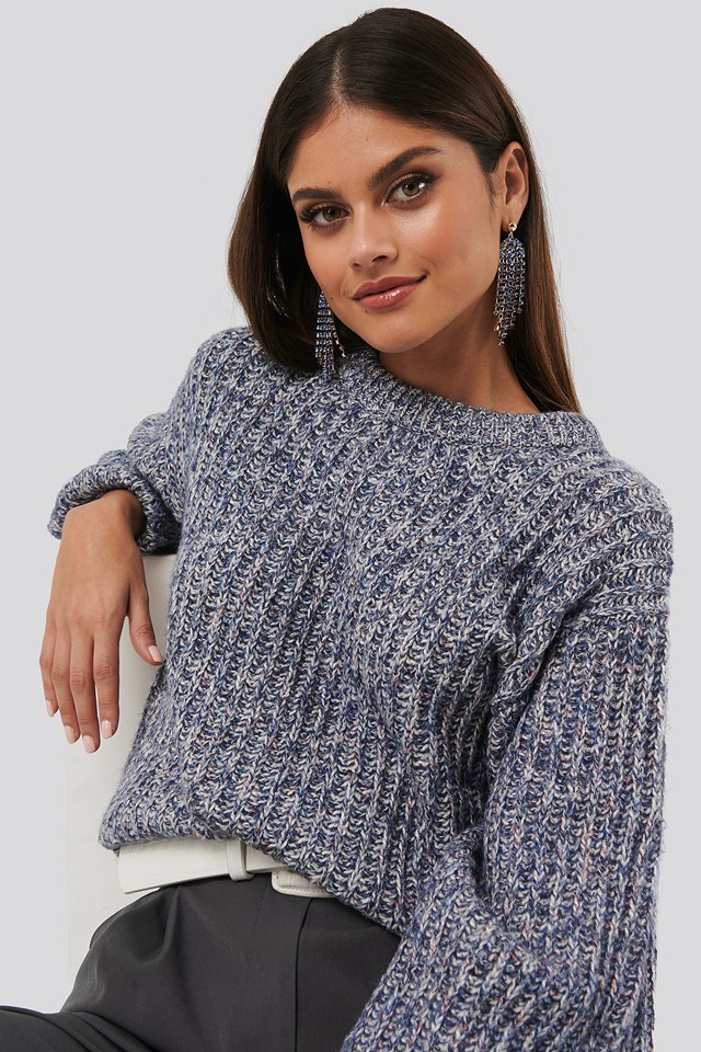 Multi Color Balloon Sleeve Knitted Sweater Blue