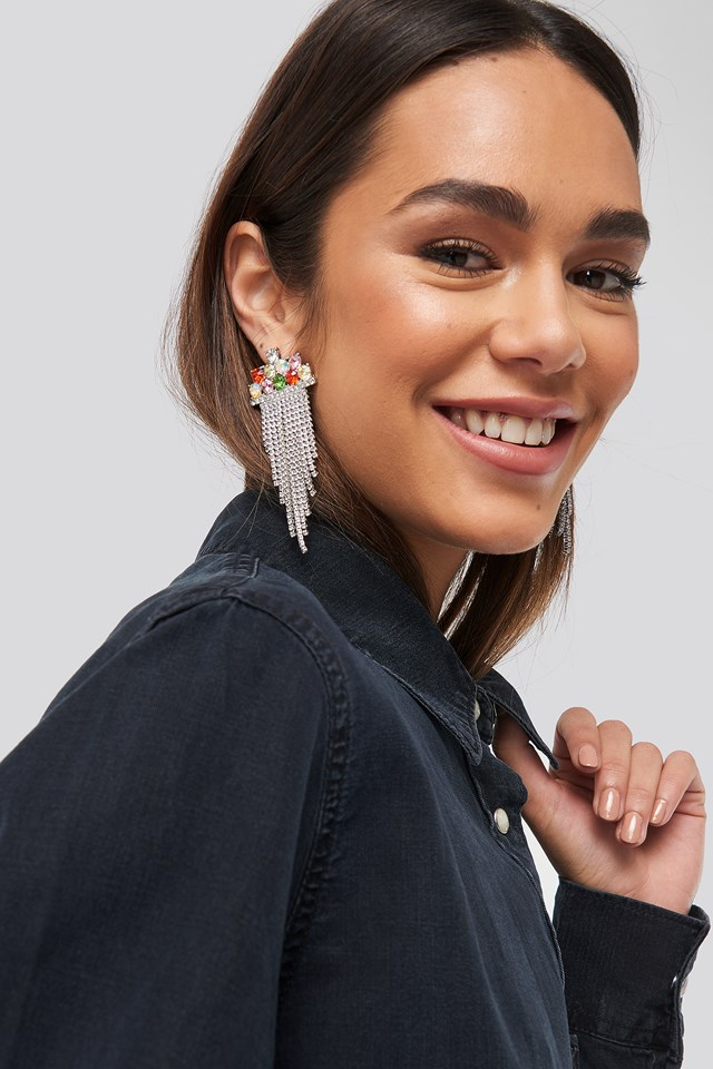 Multi Color Hanging Strass Earrings NA-KD Accessories