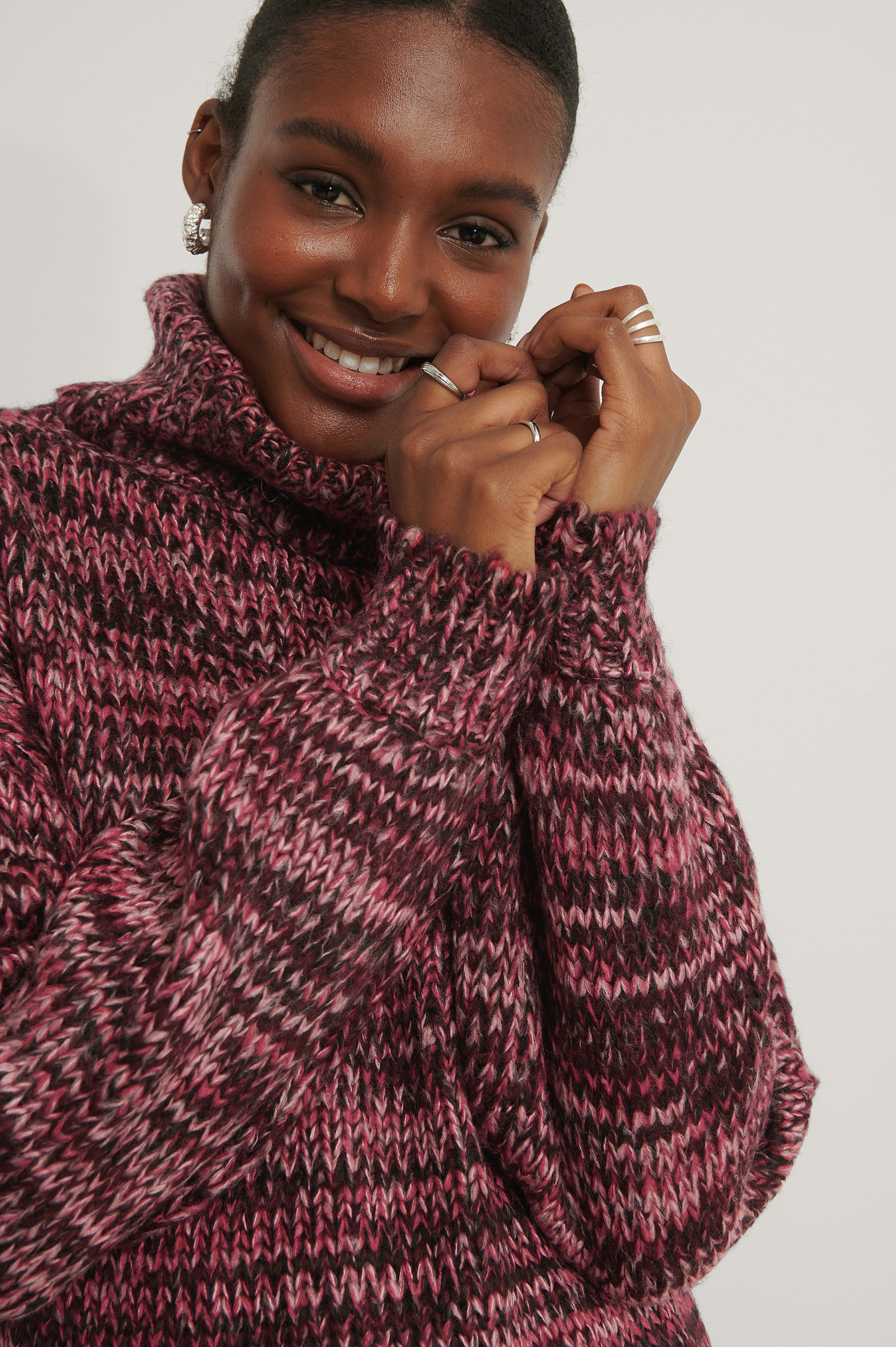 Pink Multi Color High Neck Knitted Sweater