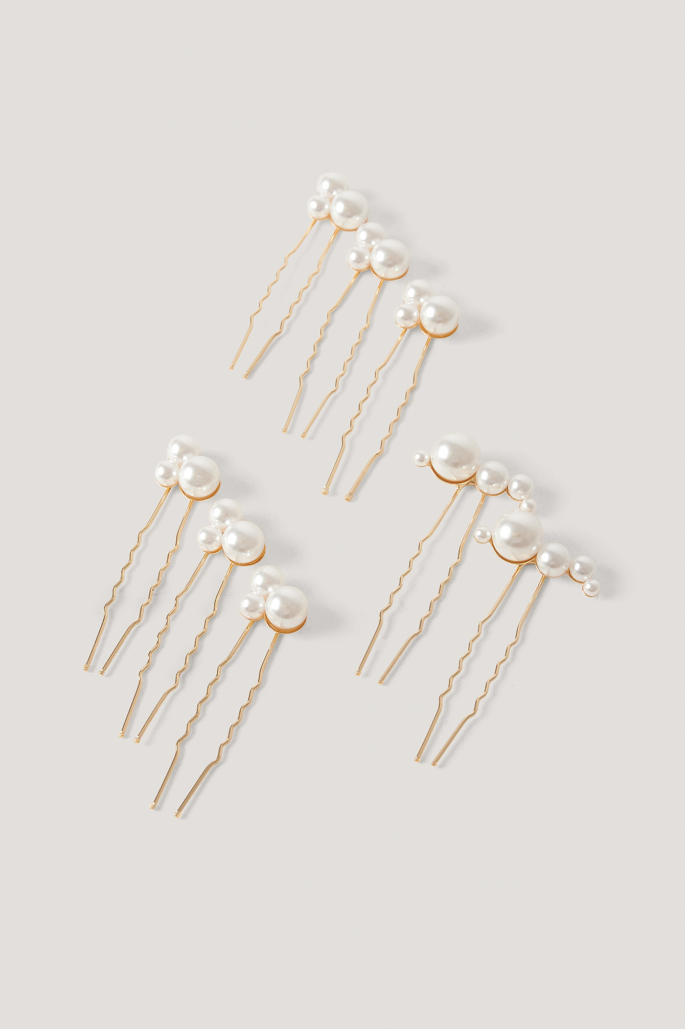 Gold/White Multi Pearl Decorated Hair Pins