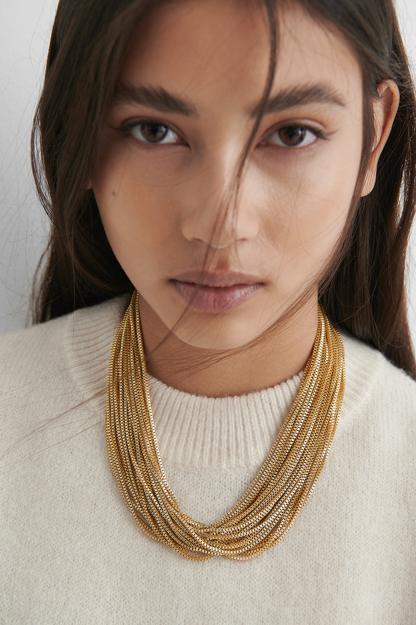 Gold Multilayered Chain Choker