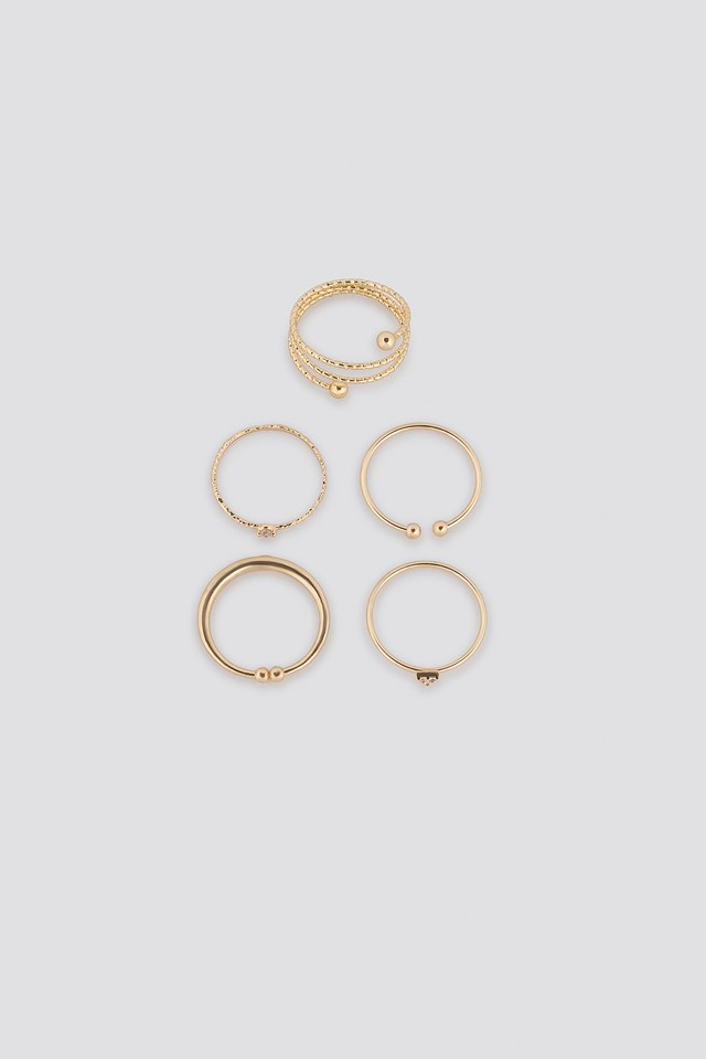 Multipack Fine Hammered Rings Gold