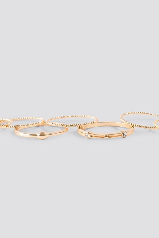 Multipack Fine Rings Gold