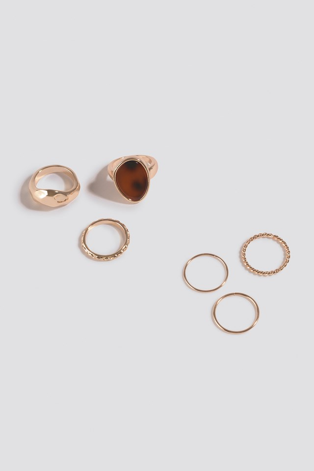 Multipack Signet Stone Ring Set Gold