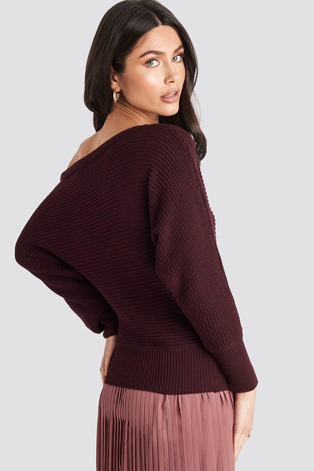 Off Shoulder Knitted Sweater Burgundy