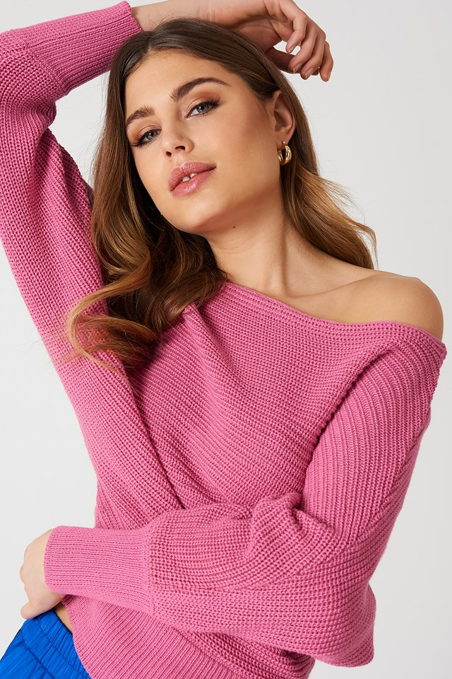Off Shoulder Knitted Sweater Pink