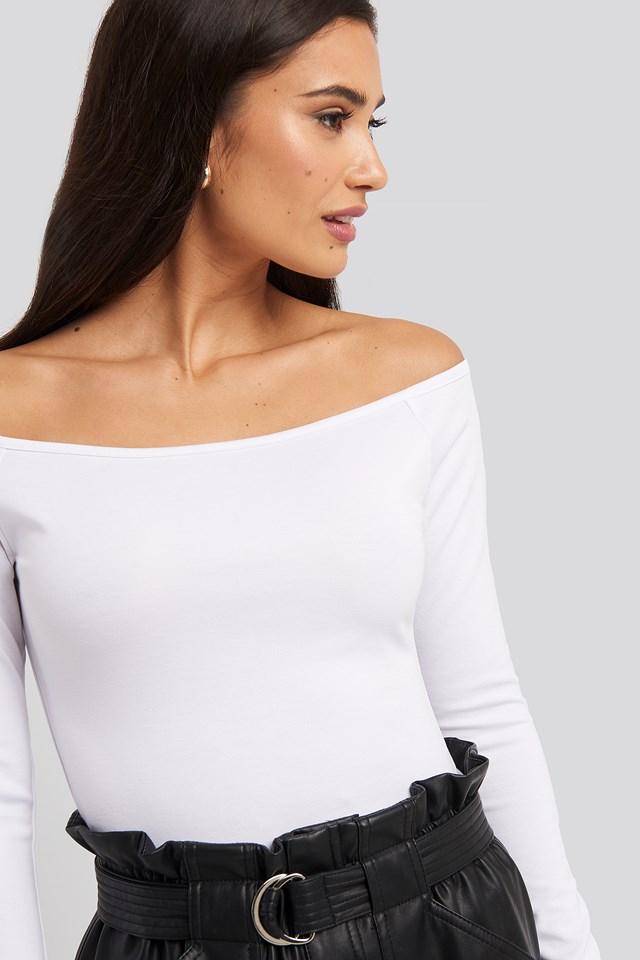 Off Shoulder Long Sleeved Top White