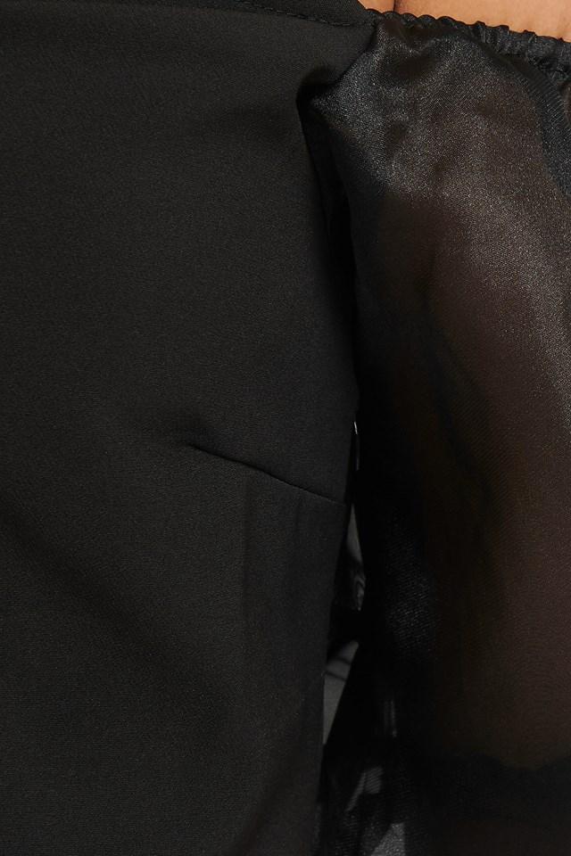 Off Shoulder Organza Sleeve Top Black