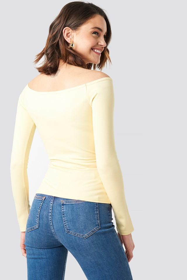 Off Shoulder Overlap Top Light Yellow