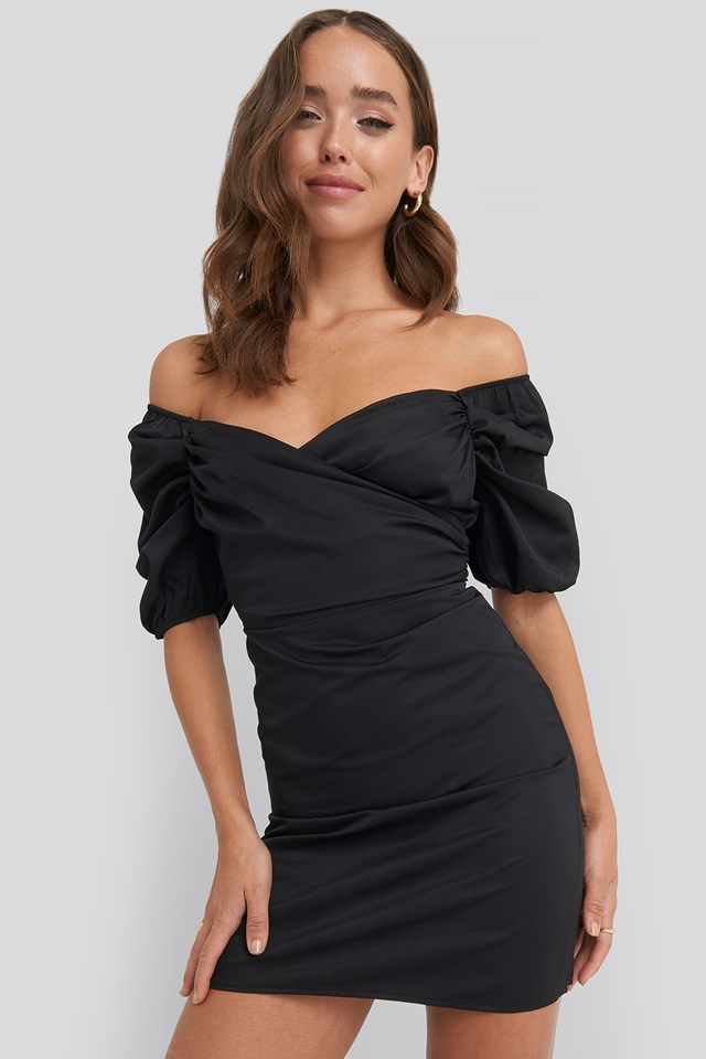 Off Shoulder Puff Sleeve Mini Dress Black