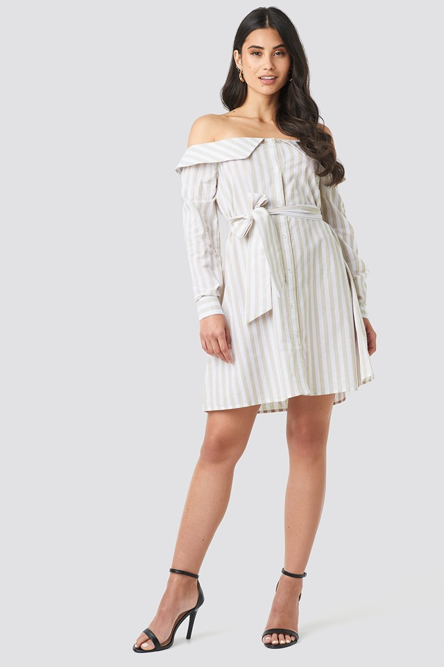 Off Shoulder Shirt Dress Beige