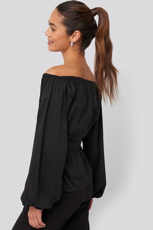 Off Shoulder Tie Waist Blouse Black