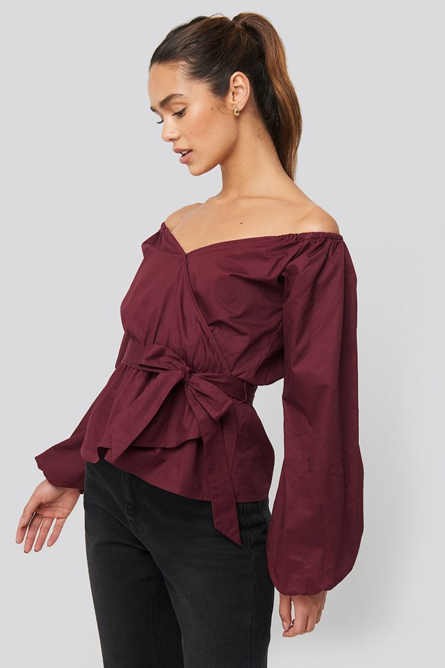 Off Shoulder Tie Waist Blouse NA-KD Trend