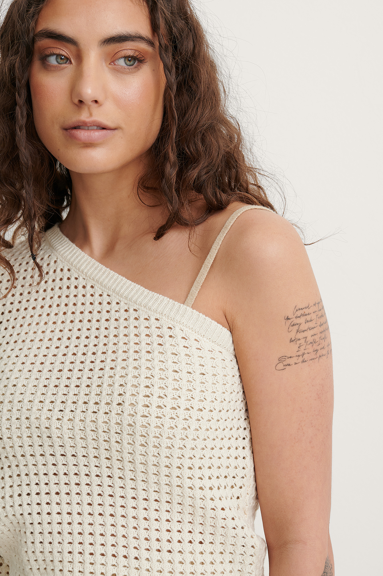 Light Beige Organic One Shoulder Hole Knitted Sweater