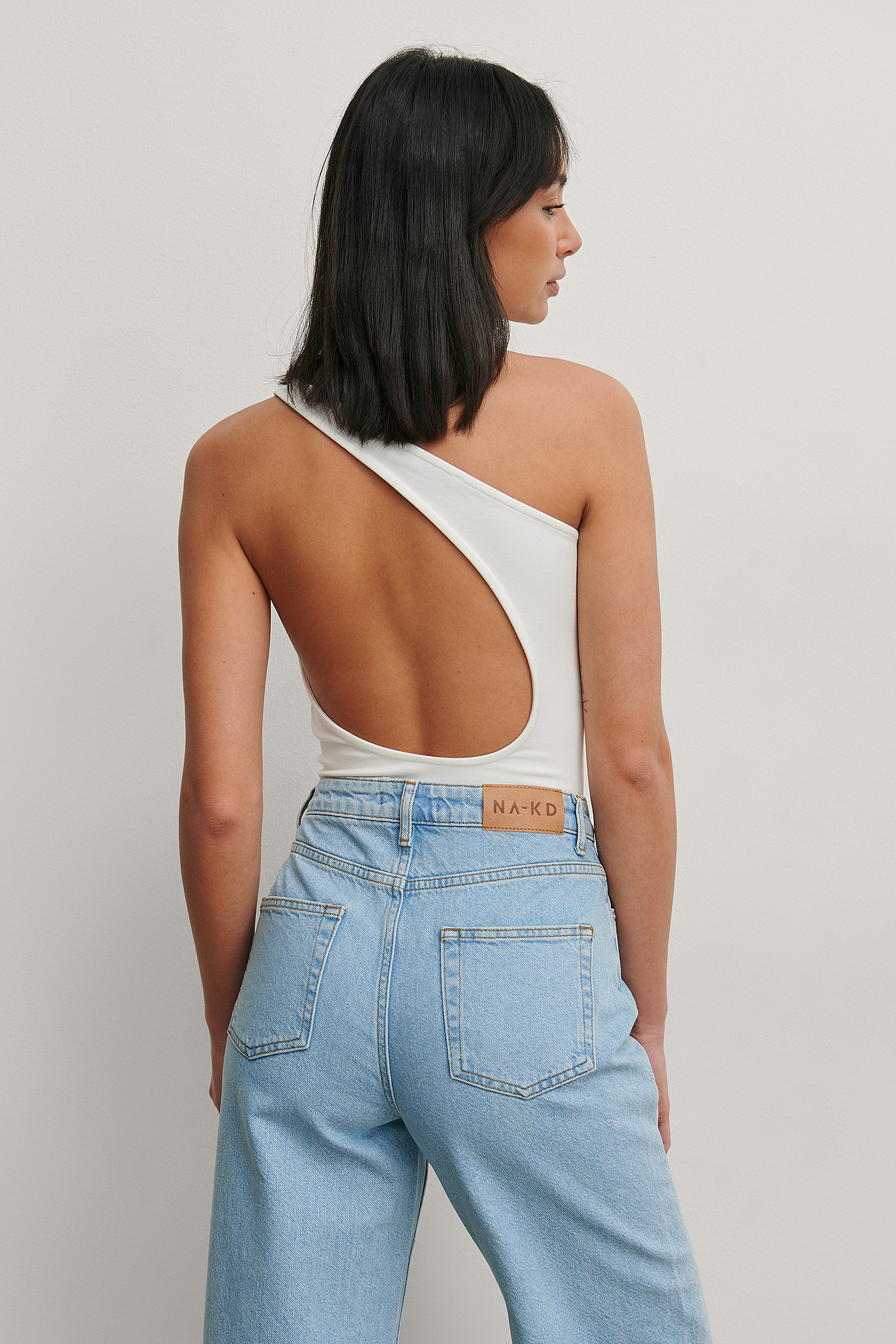 White One Shoulder Open Back Body