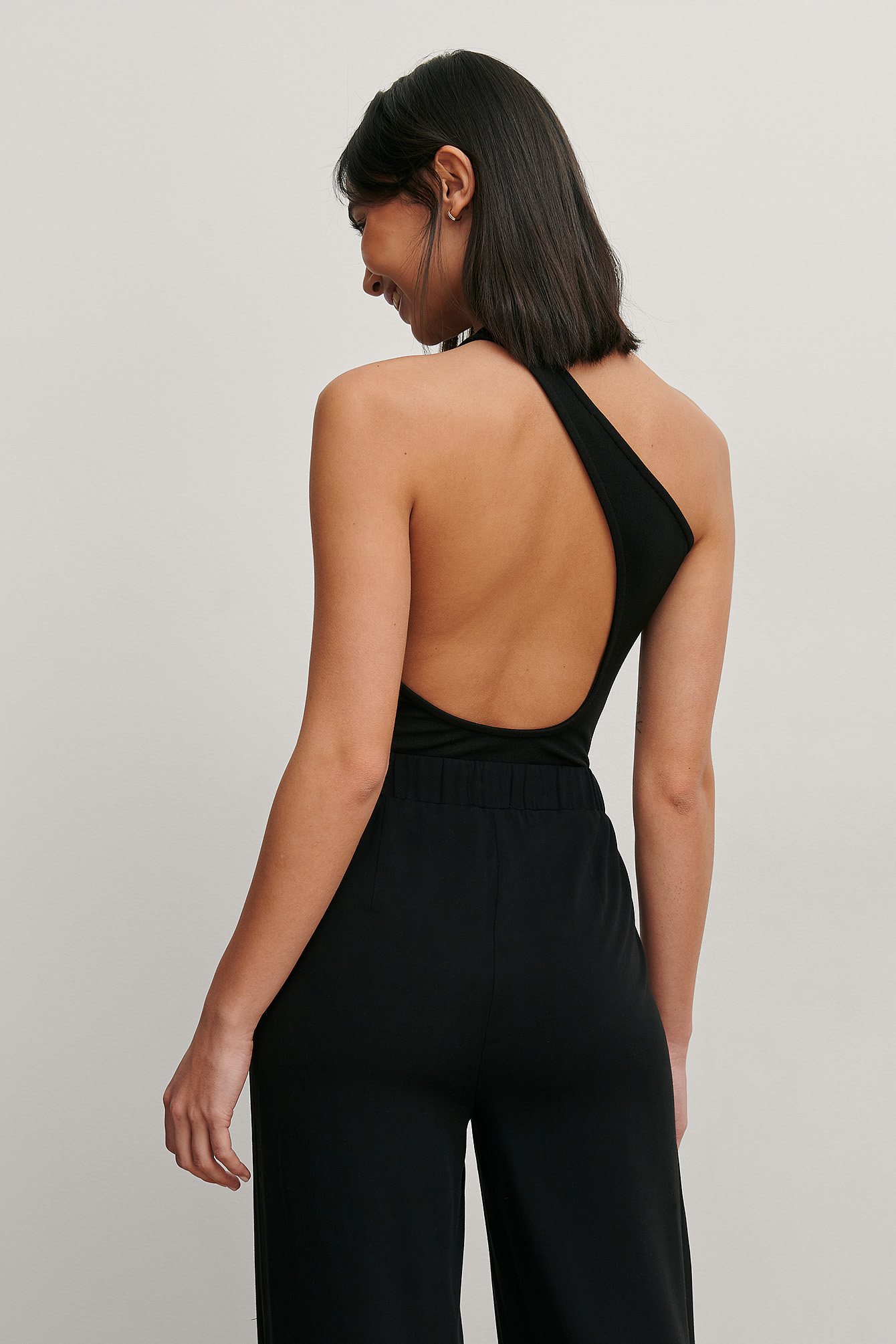 Black One Shoulder Open Back Body