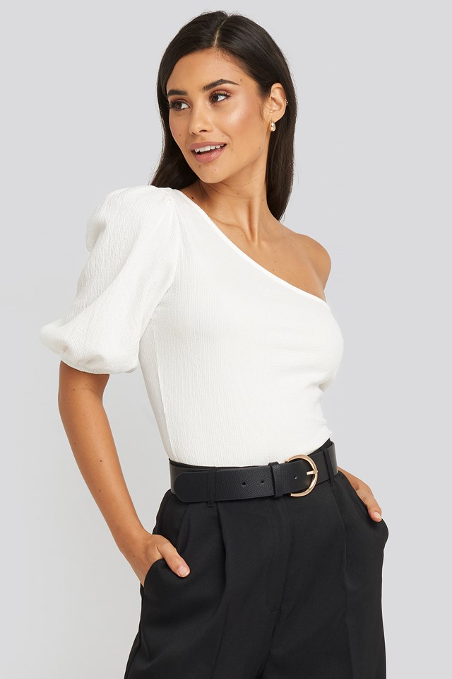 One Shoulder Puff Sleeve Top White